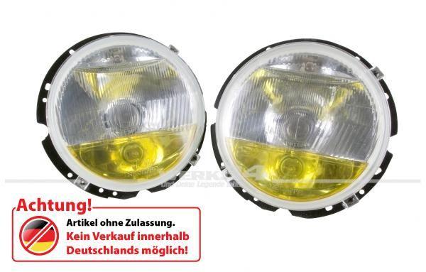 Dreikammer-Scheinwerfer, Chrom/gelb, passend für Golf I, Caddy I, Käfer (ab Bj. 74), Bus T2 und Bus T3
