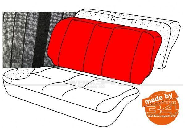 Bezug für Sitzlehne Rücksitzbank, gestreift schwarz/grau, Golf I
