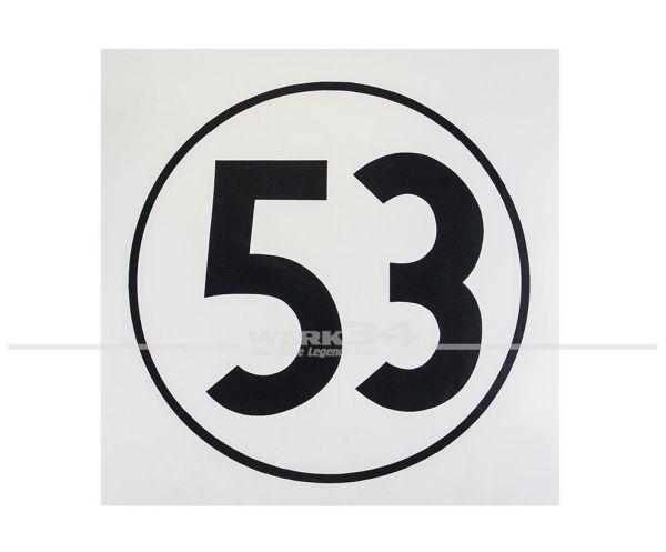 """Aufkleber """"53"""", weiß"""