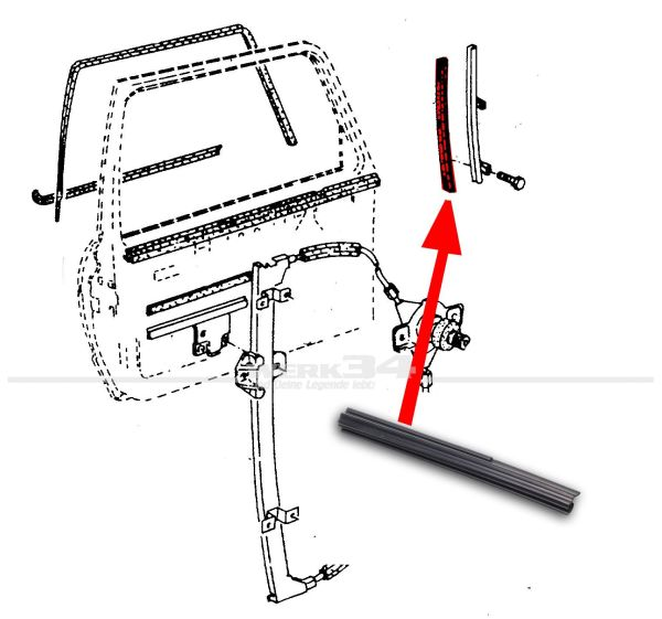 fensterf hrung f r t rscheibe links golf 2 in der t r ab. Black Bedroom Furniture Sets. Home Design Ideas