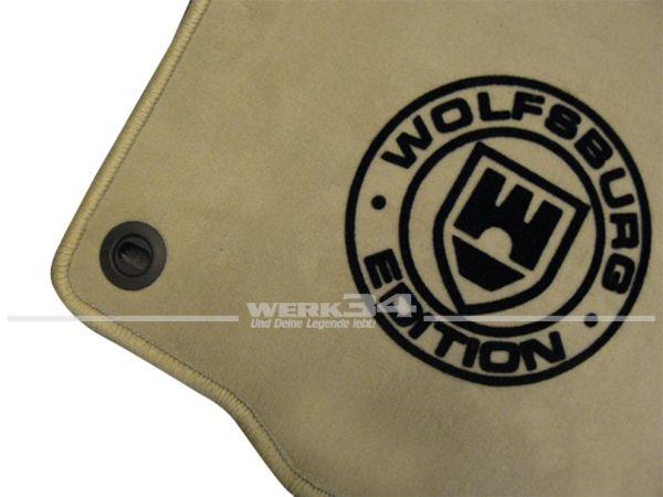 """Fußmatten Set, passend für Polo 6/9N, beige - beige, Logo """"WOB"""" in schwarz"""