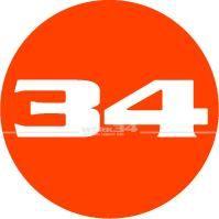 """""""WERK34""""-Aufkleber rund, Orange"""
