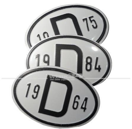 D-Schild mit aufgeprägten Baujahr 49-85  1949