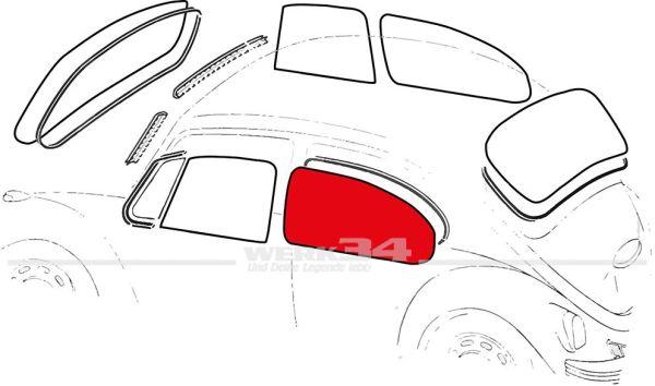 Seitenscheibe hinten klar , passend für Cabrio ab 08/64