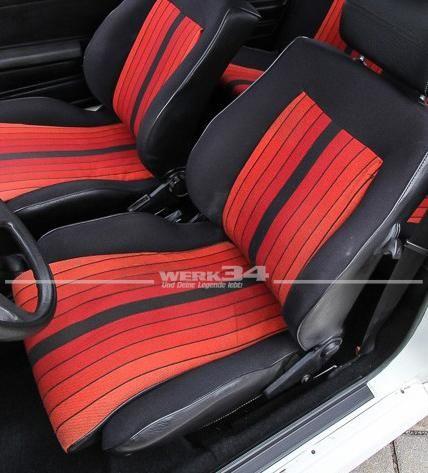 Bezugsstoff Original Pirelli GTI schwarz/rot, Grundpreis: 42,14 EUR pro m2