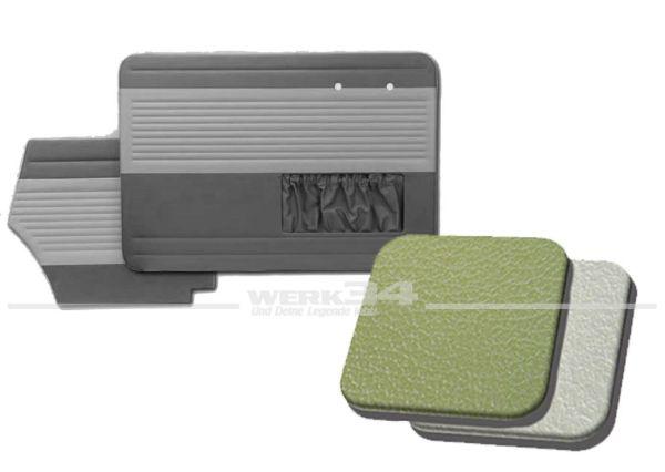 Tür- und Seitenverkleidungen mit Kartentasche, Cabrio, 55-64, Classic-Style, erbsengrün