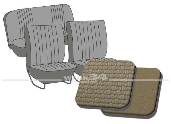 Satz Sitzbezüge, Korbmuster beige, für Käfer Limousine 64-67