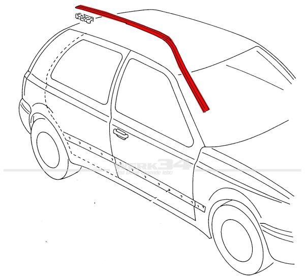 Dachzierleiste rechts, passend für Golf III 2-türer