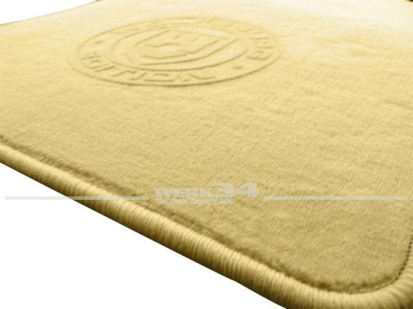 """Fußmatten Set, passend für Golf V, beige - beige, Logo """"WOB"""" in beige"""