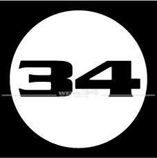 """""""WERK34""""-Aufkleber rund, weiß"""