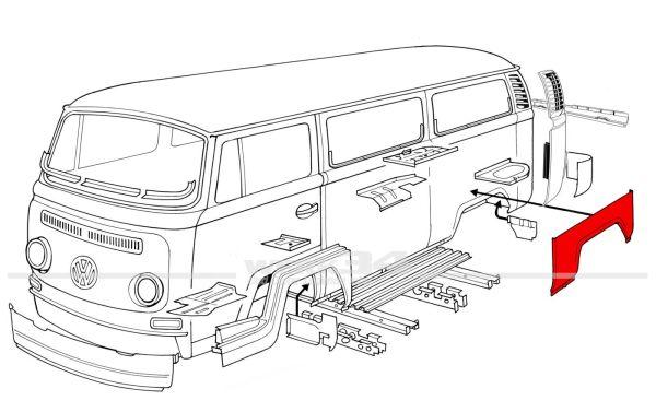 Radlauf hinten links, passend für Modelle von 08/67-07/70