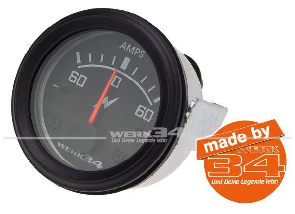 Zusatzinstrument, Amperemeter (60A), schwarz, Ø52mm