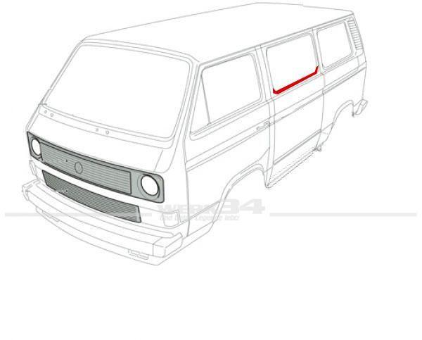 Reparaturstück für Scheibenrahmen, mitte links bzw. Schiebetür passend für alle T3 Busse
