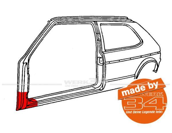 Abschnitt A-Säule, links, ca.250mm, für Golf I + Cabrio