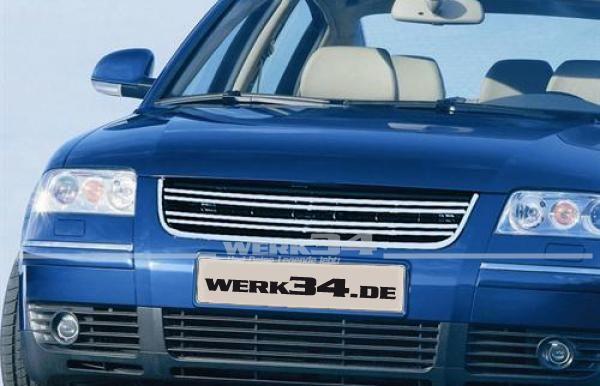 Kühlergrill ohne Emblem Passat 3BG mit Doppelrippe und Chromleisten