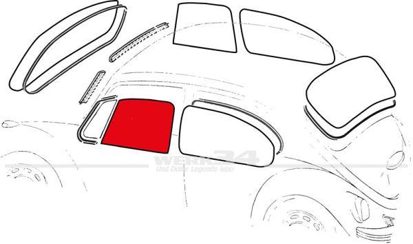 Türscheibe, links, gebraucht, passend für Cabrio ab 8/64