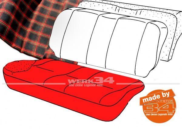 Bezug für Sitzfläche Rücksitzbank, Schottenkaro schwarz/rot, 2-türer