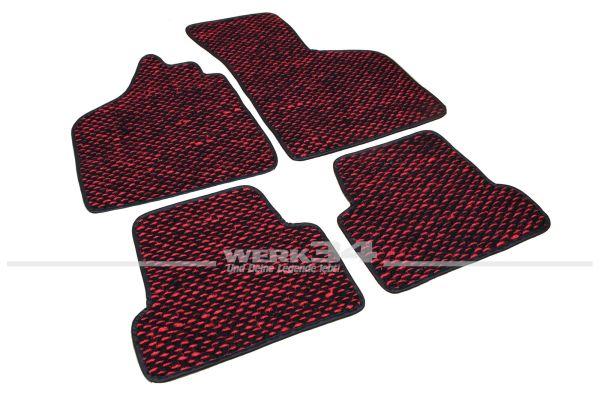 Kokosmatten, 4 –teilig, passend für Typ 3, 61-73 alle Modelle, rot/schwarz