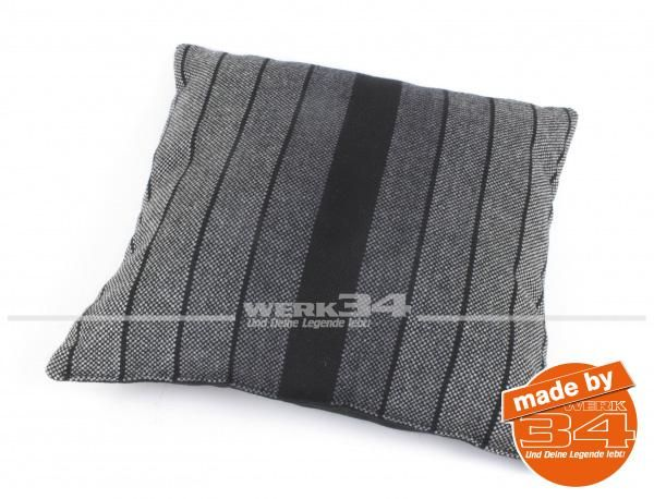 Kissen schwarz/grau gestreift