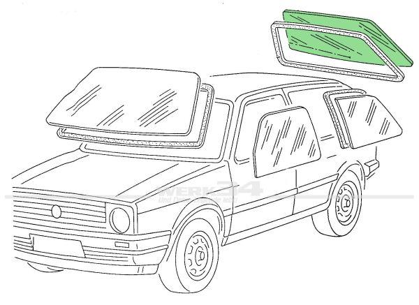 Heckscheibe Golf II grün getönt, heizbar