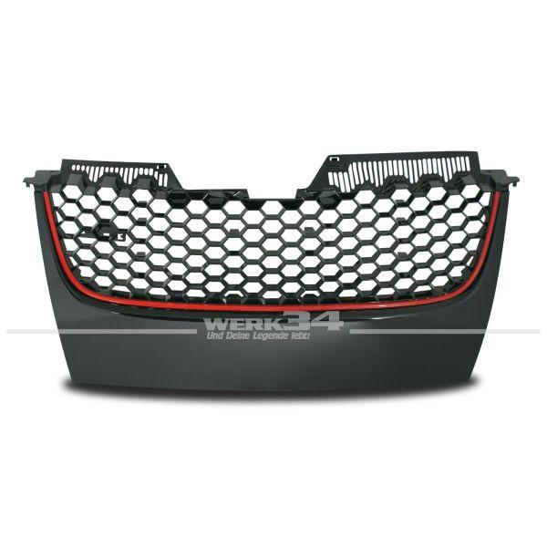 Kühlergrill, mit Wabengitter, in schwarz und roter Umrandung, ohne Emblem, passend für Golf V