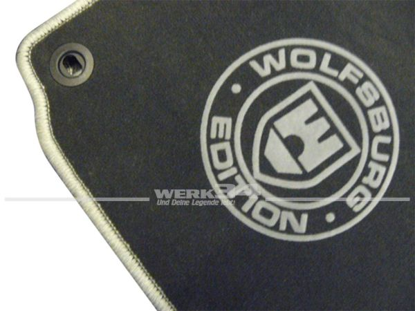 "Fußmatten Set, passend für Golf V, dunkelgrau - grau, Logo ""WOB"" in grau"