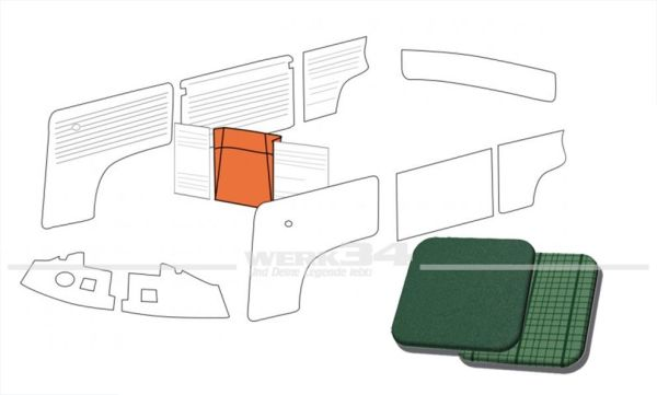 Verkleidung Reserverad in Phosphor / Como-Grün passend T1 Bus 08/62 bis 07/67