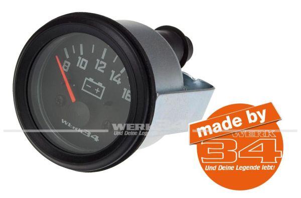Zusatzinstrument, Voltmeter, schwarz, Ø52mm