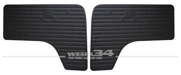 Paar T2 Türverkleidungen vorn, mit schwarzem Kunstleder bezogen