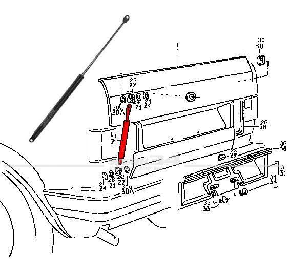 Lifter/Dämpfer für Heckklappe, passend für Golf I Cabrio