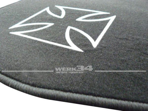 """Fußmatten Set, passend für Golf I, schwarz - schwarz Logo """"IRON CROSS"""" in grau"""