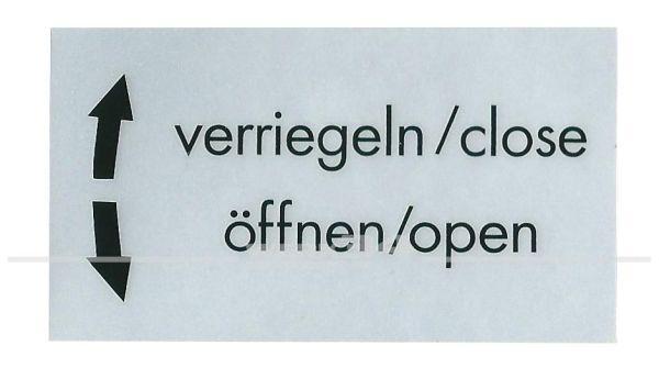 """Aufkleber """"verriegeln, öffnen"""""""