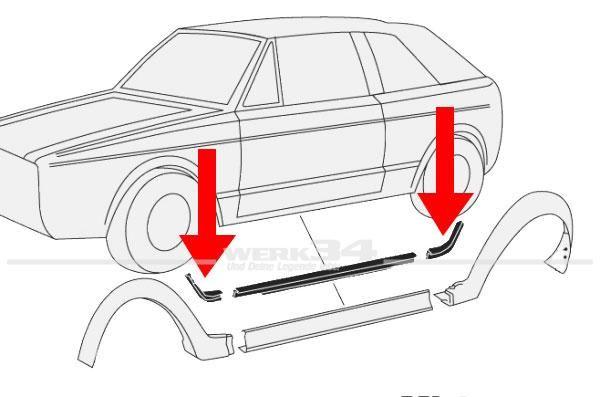 Keder für Radlaufverbreiterung Golf I Cabrio -flashsilber-