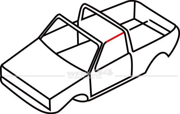 Verdeckdichtung vorn, links, passend für Golf I Cabrio