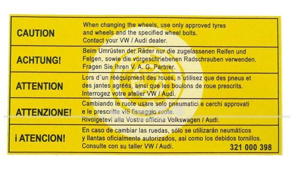 """Aufkleber """"Achtung, nur zugelassene Radschrauben verwenden"""""""
