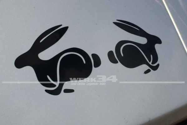 """Aufkleber """"Rabbit"""" weiß"""