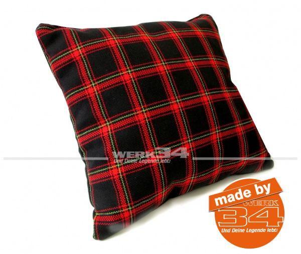 Kissen Schottenkaro schwarz/rot