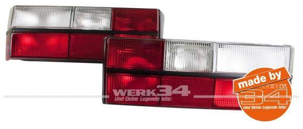 Rückleuchten rot/weiß, (kein Klarglas) passend für Golf I (von Bj. 1980 bis 83)