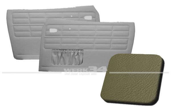 Türverkleidung grau, mit Kartentasche, passend für Karmann Ghia Typ 14, Bj. 1964-74