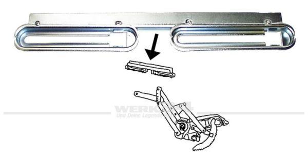 Fensterhebeschiene Cabrio für Türscheibe rechts, passend für alle Modelle ab 08/67 Käfer,Cabrio,Aufbau