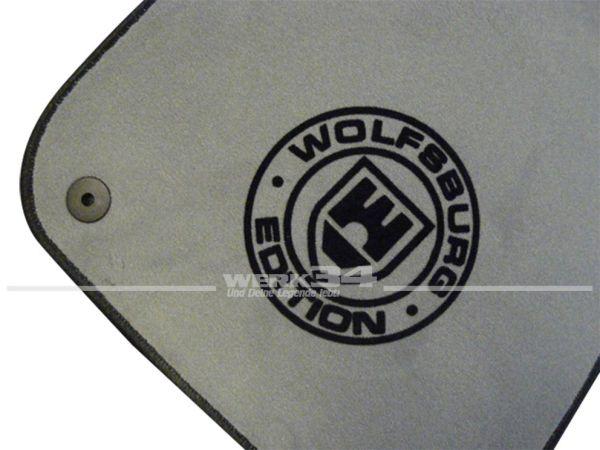 """Fußmatten Set, passend für Golf V, grau - schwarz, Logo """"WOB"""" in schwarz"""