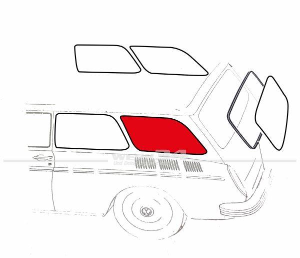 Seitenfenster Typ 3 Limousine, hinten, gebraucht
