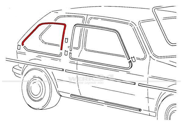 Zierleiste für Tür, hinten rechts, oben, Chrom, passend für Golf I 4-türer