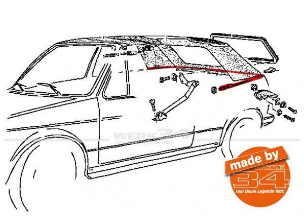 Spannseil hinten, passend für Golf I Cabrio