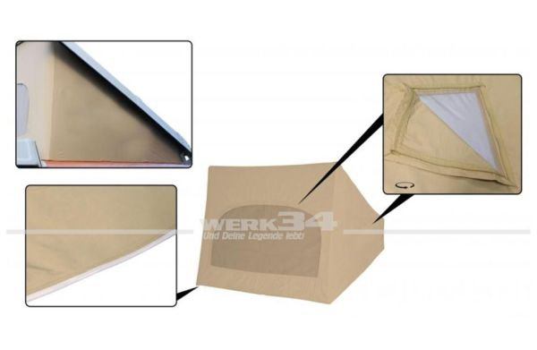 Zelt für Westfalia Hubdach / Klappdach beige, passend für Modelle von 08/79-07/85