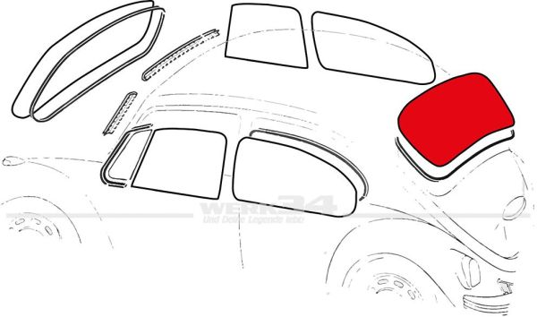 Heckscheibe heizbar, passend für Cabrio von 08/62-07/75 auch 1303