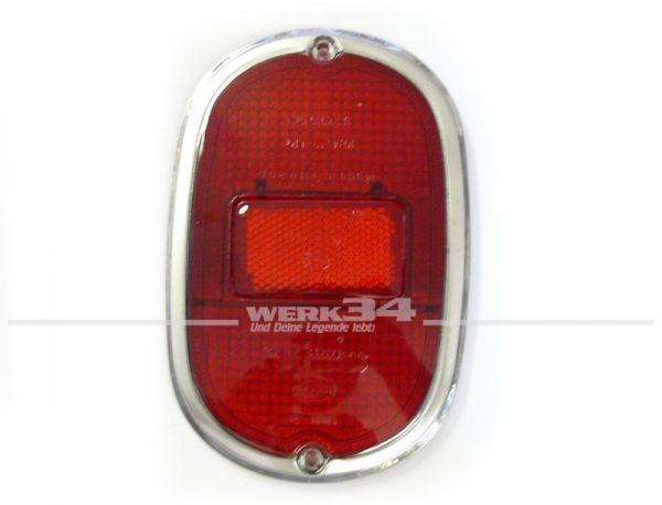 Glas für Rückleuchte, rot mit Chromrand, Bus T1 und T2 Bj 08/61-07/71, mit Prüfzeichen