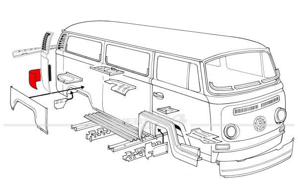 Reparaturblech Ecke hinten rechts, passend für Modelle von 08/67-07/71