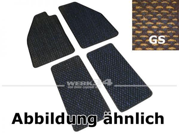 Fußmattensatz Kokos, 4-teilig, für Käfer Bj 08/59 - 07/72, GS gelb / schwarz