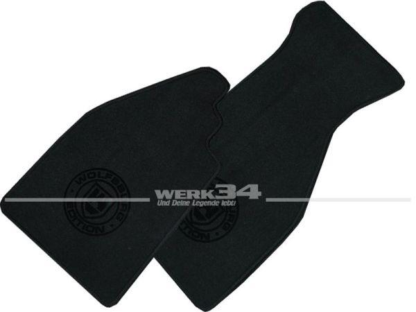 """Fußmatten Set, schwarz - schwarz, Logo """"WOB"""" in schwarz, passend für 1302/ 1303 Cabrio"""